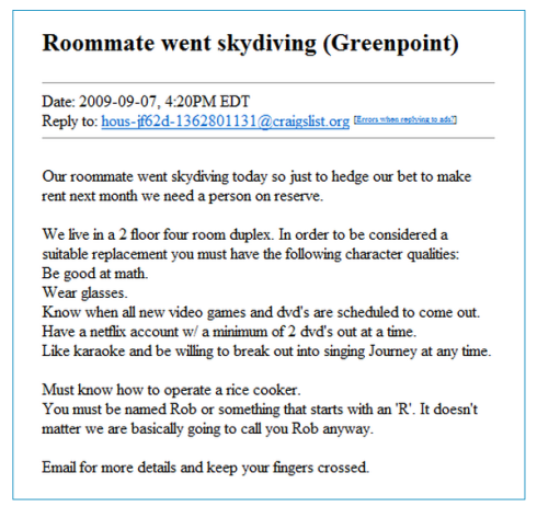 The Most Insane Roommate Ad
