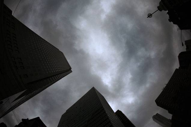 Clouds are seen above skyscrapers in lower New York